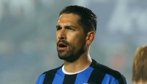 Atalanta striker Marco Borriello, on his debut, during the match of Italian Serie A Atalanta Calcio vs Us Sassuolo at the 'Atleti Azzurri d'Italia' stadium at Bergamo, Jan. 30, 2016. ANSA/ PAOLO MAGNI